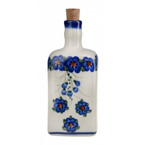 Classic Boleslawiec Pottery Hand Painted Ceramic Olive Oil or Vinegar Bottle 0.7 litre 013-U-001