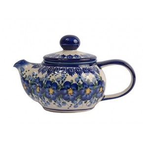 Classic Boleslawiec, Polish Pottery Hand Painted 2-Cup Ceramic Teapot with removable infuser 0.5 litre 019-U-003