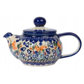 Classic Boleslawiec Pottery Hand Painted 2-Cup Ceramic Teapot with removable infuser 0.5 litre 019-U-099