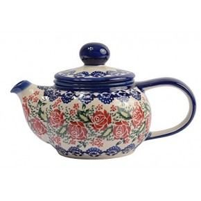 Classic Boleslawiec, Polish Pottery Hand Painted 2-Cup Ceramic Teapot with removable infuser 0.5 litre 019-U-009
