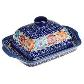 Classic Boleslawiec Pottery Hand Painted Stoneware Butter Dish with lid 067-U-004