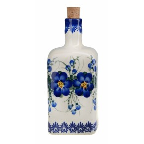 Classic Boleslawiec Pottery Hand Painted Ceramic Olive Oil or Vinegar Bottle 0.7 litre 013-U-003