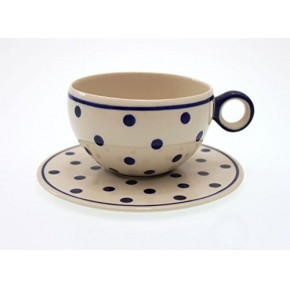 Classic Boleslawiec Pottery Hand Painted Ceramic Cup and Saucer 400 ml, C5-T-075