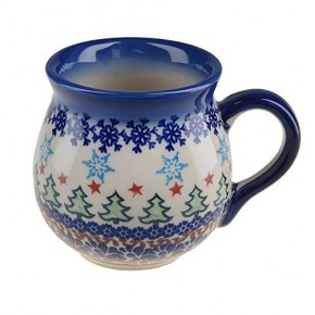 Classic Boleslawiec, Polish Pottery Hand Painted Ceramic Mug Barrel 250 ml, Dec: Christmas Tree, 523-U-010