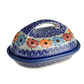 Classic Boleslawiec Pottery Hand Painted Stoneware Butter Dish with lid 331-U-004