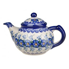Classic Boleslawiec Pottery Hand Painted Ceramic 9-Cup Teapot with lid 1.5 litre 018-U-003