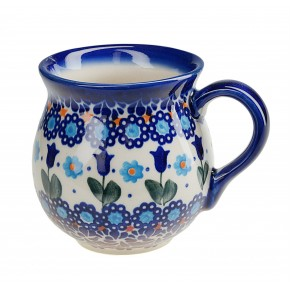 Classic Polish Boleslawiec Pottery, Hand Painted Ceramic Mug Barrel 250 ml, 523-U-006