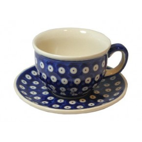 Classic Boleslawiec Pottery Hand Painted Ceramic Cup & Saucer 0.2L 033-T-001