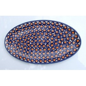 Classic Boleslawiec Pottery Hand Painted Ceramic Oval Serving Dish, Plate P4-M-U-002