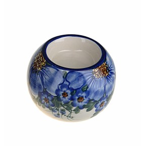 Classic Boleslawiec, Polish Pottery, Hand Painted Ceramic Ball, Tea Lite Candle Holder 501-A-064