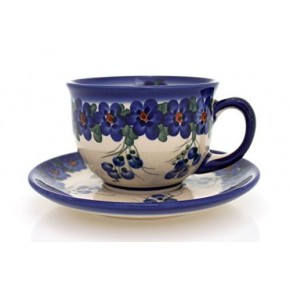 Classic Boleslawiec Pottery Hand Painted Ceramic Tea Cup and Saucer 200ml 033-U-001