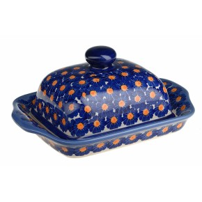 Classic Boleslawiec Pottery Hand Painted Stoneware Butter Dish with lid 067-U-002