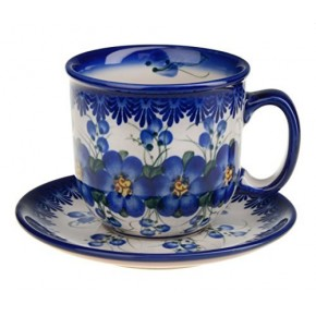Classic Boleslawiec, Polish Pottery Hand Painted Ceramic Cup and Saucer 300ml 034-U-003