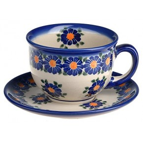 Classic Boleslawiec Pottery Hand Painted Ceramic Cup and Saucer 200ml 033-U-018