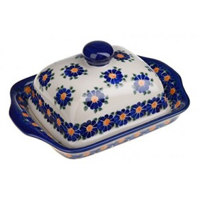 Classic Boleslawiec Pottery Hand Painted Stoneware Butter Dish with lid 067-U-018