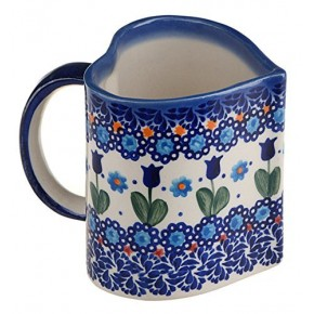 Classic Boleslawiec Pottery Hand Painted Ceramic Heart Shaped Mug 350ml, Large 511-U-006