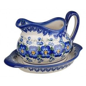 Classic Boleslawiec, Polish Pottery, Hand Painted Ceramic Gravy Boat and Stand 0.7 Litre 128/129-U-003