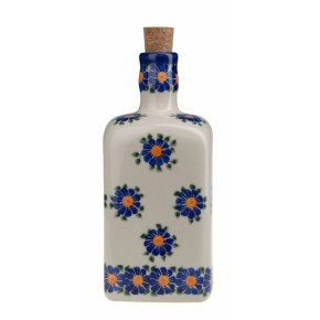 Classic Boleslawiec Pottery Hand Painted Ceramic Olive Oil or Vinegar Bottle 700ml 013-U-018