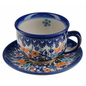Classic Boleslawiec Pottery Hand Painted Ceramic Cup and Saucer 0.2 litre 033-U-099
