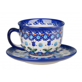 Classic Boleslawiec Pottery Hand Painted Ceramic Cup and Saucer 0.2 litre 033-U-006