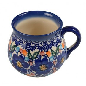 Classic Boleslawiec, Polish Pottery Hand Painted Ceramic Mug Barrel 350 ml, 525-U-097