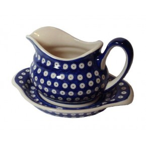 Classic Boleslawiec Pottery Hand Painted Ceramic Gravy Boat and Stand 0.7 Litre 128/129-T-001