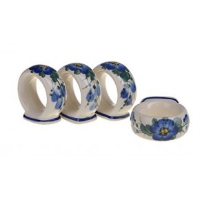 Classic Boleslawiec Pottery Hand Painted Ceramic Napkin Rings set of 4, 127-U-003