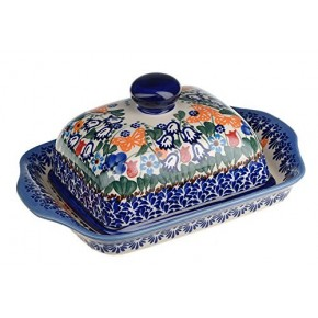 Classic Boleslawiec Pottery Hand Painted Stoneware Butter Dish with lid 067-U-099