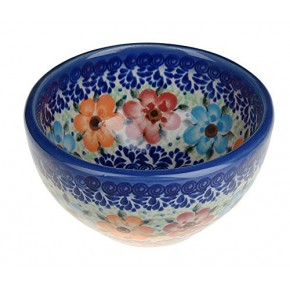 Classic Boleslawiec Pottery Hand Painted Ceramic Snack & Dip Bowl, 250 ml Small 518-U-004