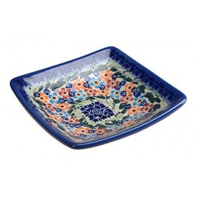 Classic Boleslawiec, Polish Pottery Hand Painted Ceramic Square Bowl 0.25 litre 295-U-008