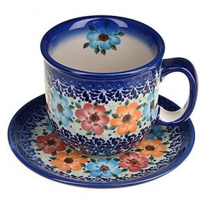 Classic Boleslawiec, Polish Pottery Hand Painted Ceramic Cup and Saucer 300ml 034-U-004