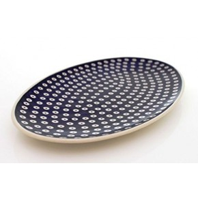 Classic Boleslawiec Pottery Hand Painted Ceramic Oval Serving Dish, Plate, Large P4-M-T-001
