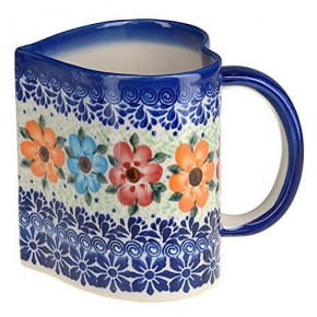 Classic Boleslawiec Pottery Hand Painted Ceramic Heart Shaped Mug 350ml, Large 511-U-004