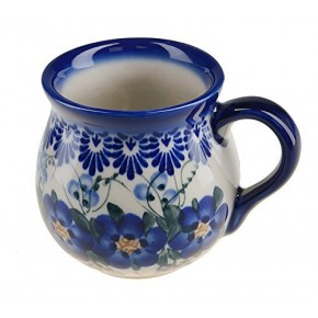 Classic Boleslawiec, Polish Pottery Hand Painted Ceramic Mug Barrel 250 ml, 523-U-003