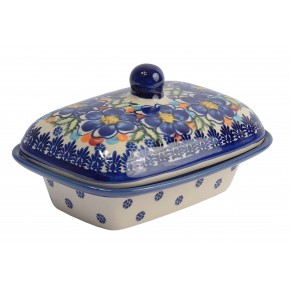 Classic Boleslawiec Hand Painted Stoneware Butter Dish with lid 066-U-097