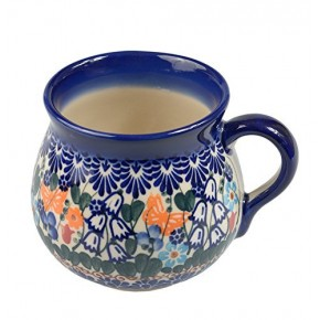 Classic Boleslawiec, Polish Pottery Hand Painted Ceramic Mug Barrel 350 ml, 525-U-099