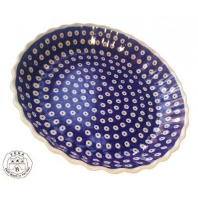 Classic Boleslawiec Pottery Hand Painted Ceramic Round Pie Dish 100-T-001