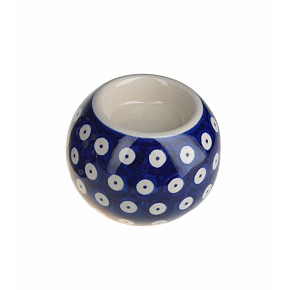 Classic Boleslawiec, Polish Pottery, Hand Painted Ceramic Ball, Tea Lite Candle Holder 501-T-001