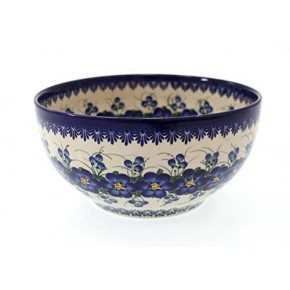 Classic Boleslawiec Pottery Hand Painted Ceramic Salad Bowl, Large 2.5 litre 075-U-003