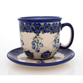 Classic Boleslawiec Pottery Hand Painted Ceramic Cup and Saucer 300ml 034-U-001