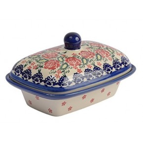 Classic Boleslawiec, Polish Pottery Hand Painted Stoneware, Ceramic Butter Dish with lid 066-U-009